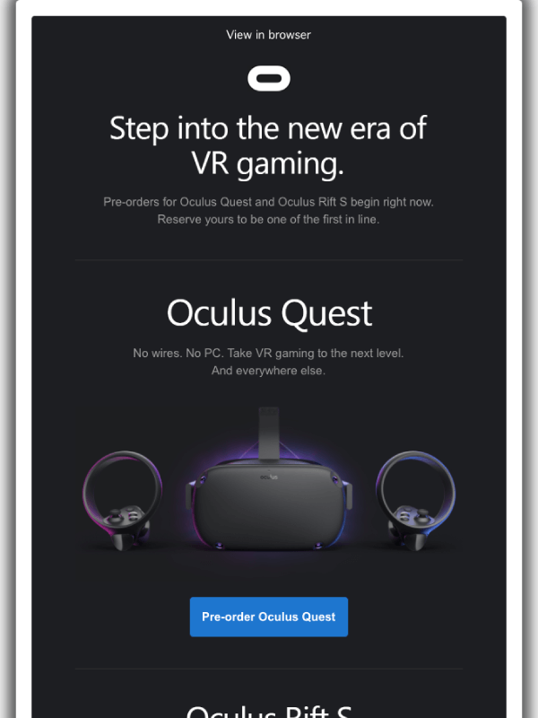 Pre-order Oculus Quest and Oculus Rift S now Email by Oculus 3