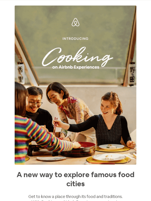 Now serving: your most memorable meal yet email by Airbnb 1