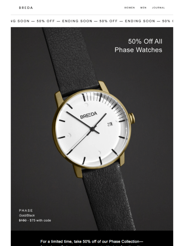 ENDING SOON: 50% Off Phase email by Bredawatch 7