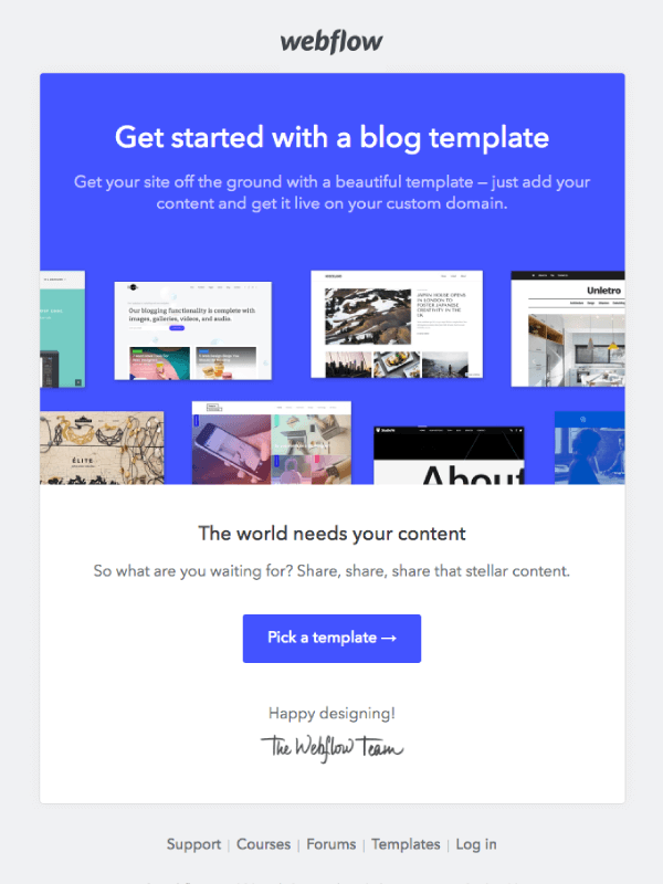 Jumpstart your blog with a template by Webflow 5